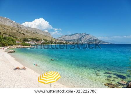 Beautiful scenic beach close to Omis in Croatia - stock photo