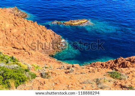 Beautiful Scenic Coastline on the French Riviera near Cannes, France - stock photo