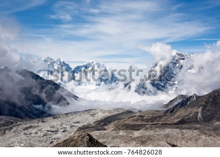 Beautiful scenic landscape in the Himalayas, Nepal during the summer months with blue sky in the background