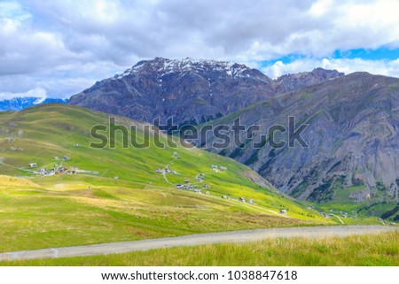 Beautiful scenic landscape of Italian Alps in Livigno valley near the Swiss border, province of Sondrio, in the region of Lombardy, Italy.