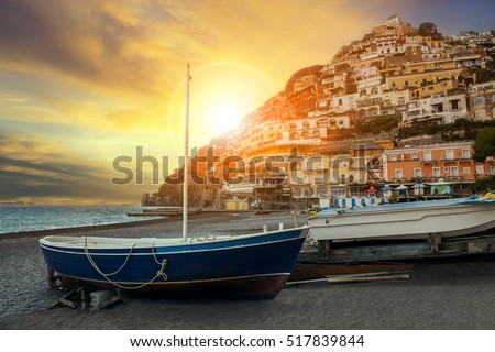 beautiful scenic of positano beach sorrento town south italy important traveling destination of mediterranean sea