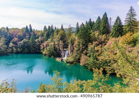 beautiful scenic view of Plitvice lakes