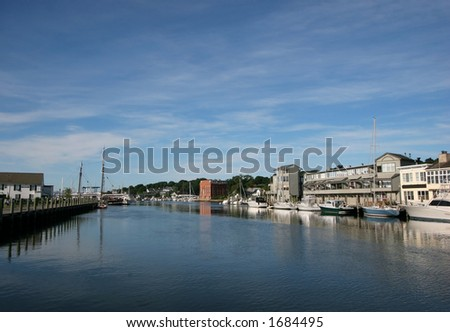 beautiful scenic view of river in Mystic Connecticut - stock photo