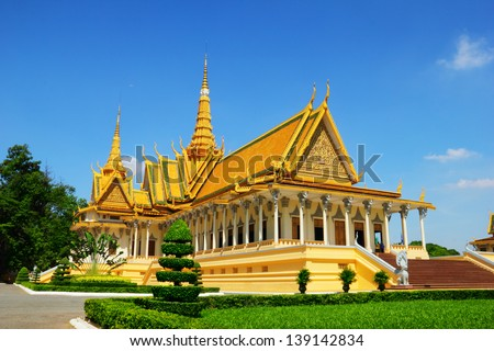 Beautiful scenic view of Royal palace against the background of clean blue sky at sunny days morning in Pnom Penh - the capital of Cambodia, Indochina - stock photo