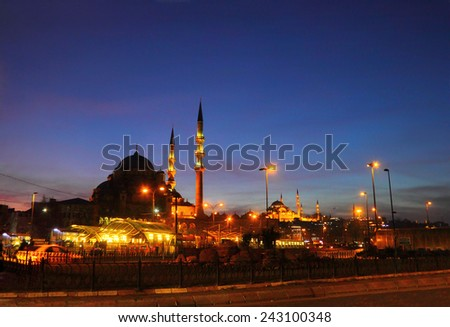 Beautiful scenic view - two traditional Turkish mosques and city street full of lights against the background of dark night sky, Sultanahmet, Istanbul, Turkey - stock photo