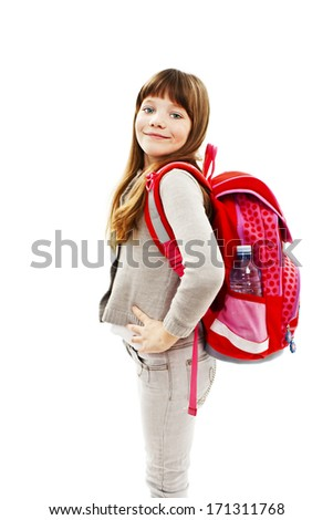 Beautiful school girl ready to her first day of school. Isolated on white background  - stock photo