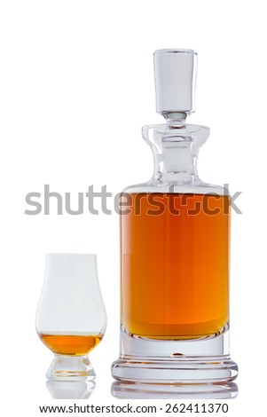 Beautiful Scotch Whisky in a Crystal Decanter with a Glencairn Glass - stock photo