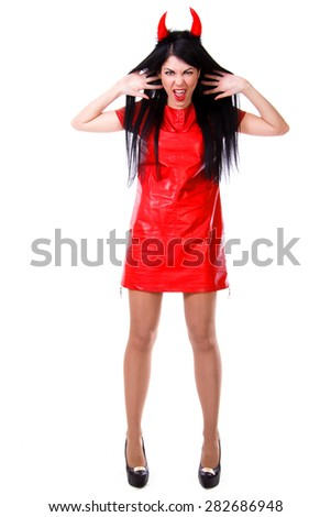 Beautiful screaming demon isolated over white background - stock photo