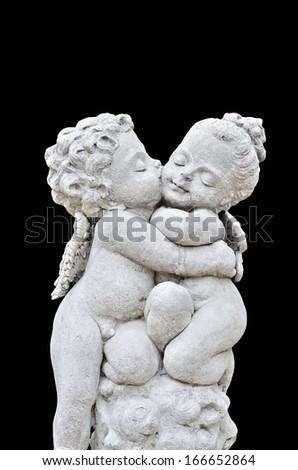 Beautiful sculpture on black background - stock photo
