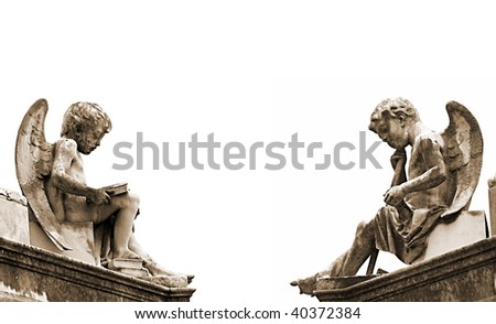 Beautiful sculptures at a cemetery in Melbourne Australia - stock photo