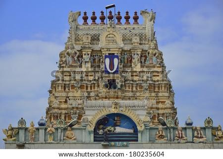 Beautiful sculptures at the gopuramofVeeraraghavar temple in Tiruvallur - stock photo