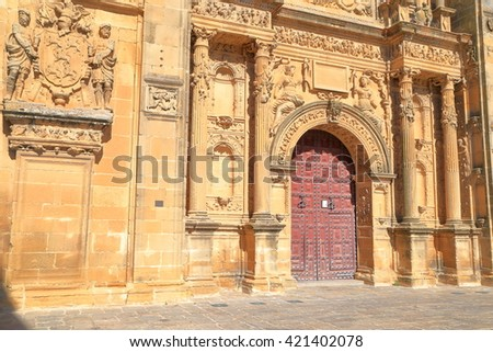Beautiful sculptures on the wall of El Salvador chapel in Ubeda, Andalusia, Spain - stock photo