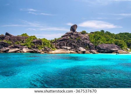 Beautiful sea and blue sky at Similan island, Andaman sea,phuket, Thailand - stock photo