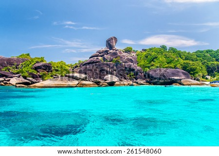 Beautiful sea and blue sky at Similan island, Andaman sea, Thailand - stock photo