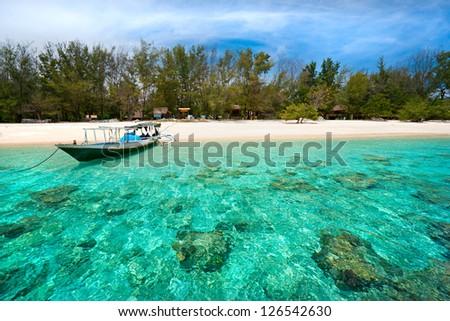 Beautiful sea and coastlines of Gili Meno, Indonesia. - stock photo