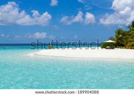 Beautiful sea and white sand beach,Maldives - stock photo