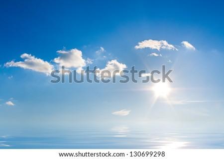 Beautiful sea horizon. Tranquil scene. Element of design - stock photo