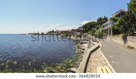 Beautiful sea landscape. View of the embankment. Black Sea, Nessebar, Bulgaria - stock photo