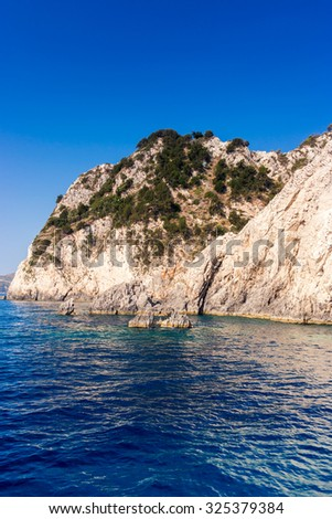 Beautiful sea landscapes on Zakynthos Island in Greece