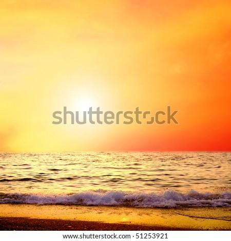 Beautiful sea nature landscape on the sunrise sky - stock photo