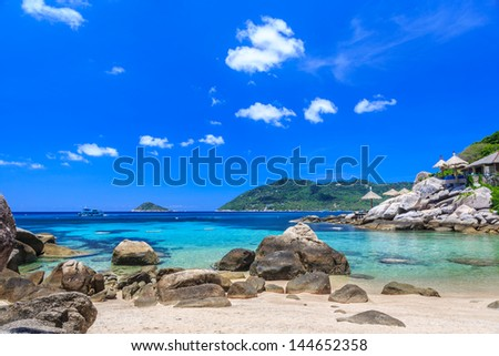 Beautiful sea on tropical island with crystal clear water, Kho Tao, Samui, Thailand