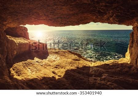 Beautiful sea shore in Cyprus - stock photo