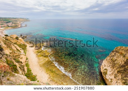 Beautiful sea-shore, Sciacca, Sicily, Italy. - stock photo