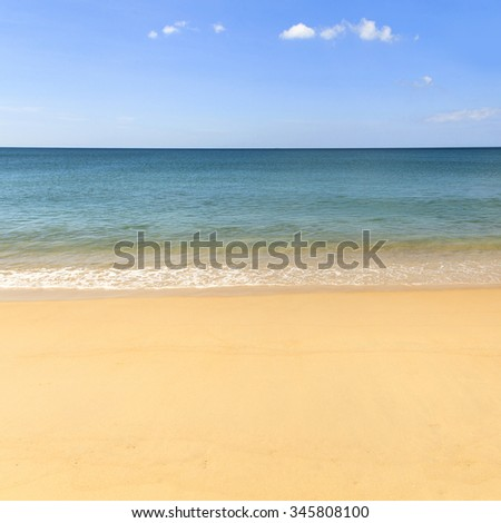 Beautiful sea summer background, Sand beach and blue ocean with blue sky