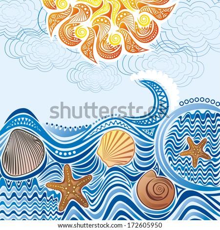 Beautiful sea sun pattern wave illustration - stock photo