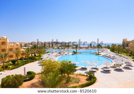 Beautiful sea view in a tropic hotel. - stock photo