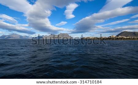 Beautiful sea view of Lofoten Islands in Norway - stock photo