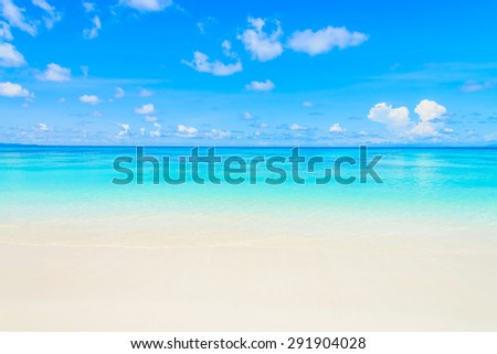 Beautiful sea wave on the beach with blue sky background - stock photo