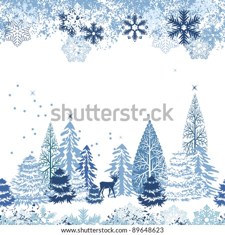 Beautiful seamless blue pattern with winter forest.. Raster version. - stock photo