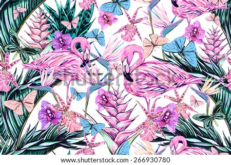 Beautiful seamless floral jungle pattern background. Colorful watercolor tropical flowers, palm leaves and plants, butterflies, bird of paradise flower with pink flamingos, exotic print - stock photo