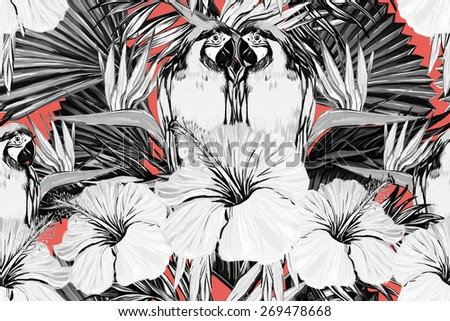 Beautiful seamless floral jungle pattern background. Parrots, tropical flowers, palm leaves and plants, hibiscus, bird of paradise flowers, exotic print - stock photo
