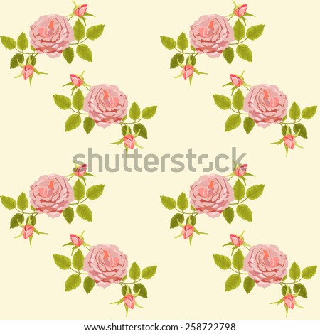 Beautiful seamless floral pattern, flower vector illustration. Elegance wallpaper with pink roses and green leaf on background. - stock photo