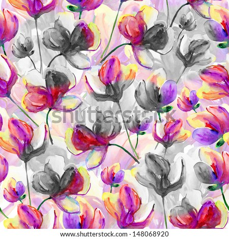 Beautiful seamless floral pattern, flower watercolor illustration. Elegance wallpaper with of pink orchids on floral background. - stock photo