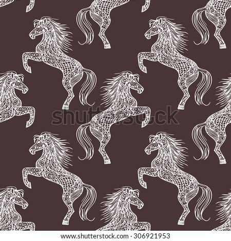 Beautiful seamless pattern with white horses silhouettes on brown background. Animal texture drawn.