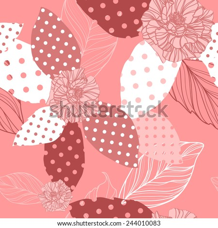 beautiful  seamless pink pattern with roses