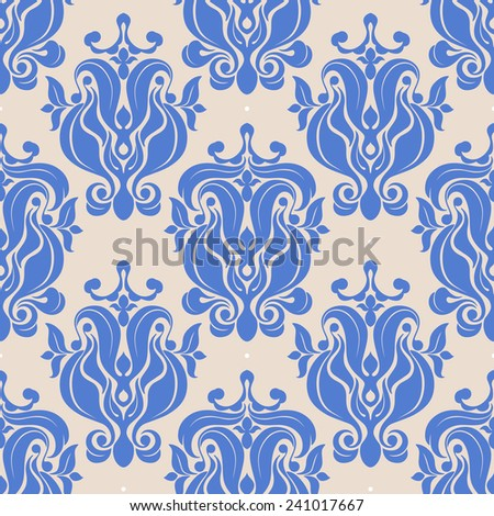 beautiful seamless retro background with blue natural abstract pattern