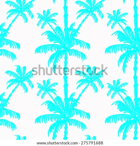Beautiful seamless tropical jungle floral pattern background with palm leaves. Raster version.  - stock photo