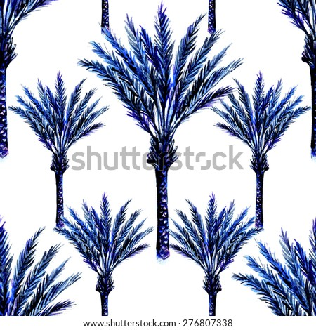 Beautiful seamless vintage floral pattern background. Landscape with watercolor palm trees - stock photo