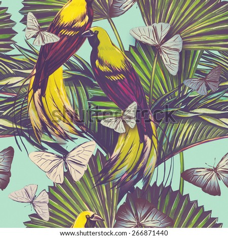 Beautiful seamless vintage tropical jungle floral pattern background. Watercolor exotic bird, butterflies and palm leaves, exotic print - stock photo