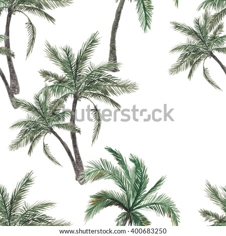 Beautiful seamless watercolor painting  floral tropical pattern background with palm tree - stock photo