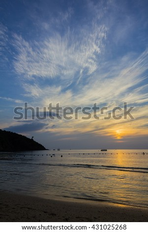 Beautiful seascape and twilight sky, colorful cloudscape background, landscape