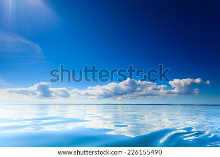Beautiful seascape blue sea horizon and sky. Tranquil scene. Natural composition of nature. Beauty landscape.