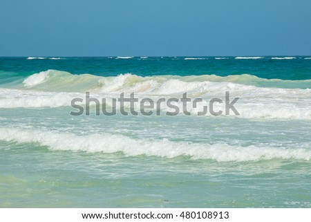 Beautiful seascape. Caribbean sea in Mexico