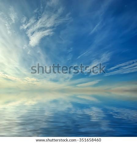 Beautiful seascape. Deep blue sky at sunny day. Sky background. - stock photo