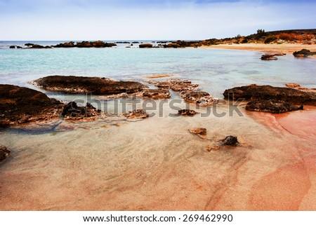 beautiful seascape, deserted rocky beach, Crete, Greece  - stock photo