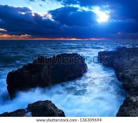 Beautiful seascape during sundown. - stock photo